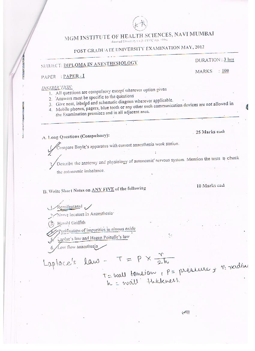 MD-DA Papers List   Cardiac Anaesthesia   Dr Amarja Nagre