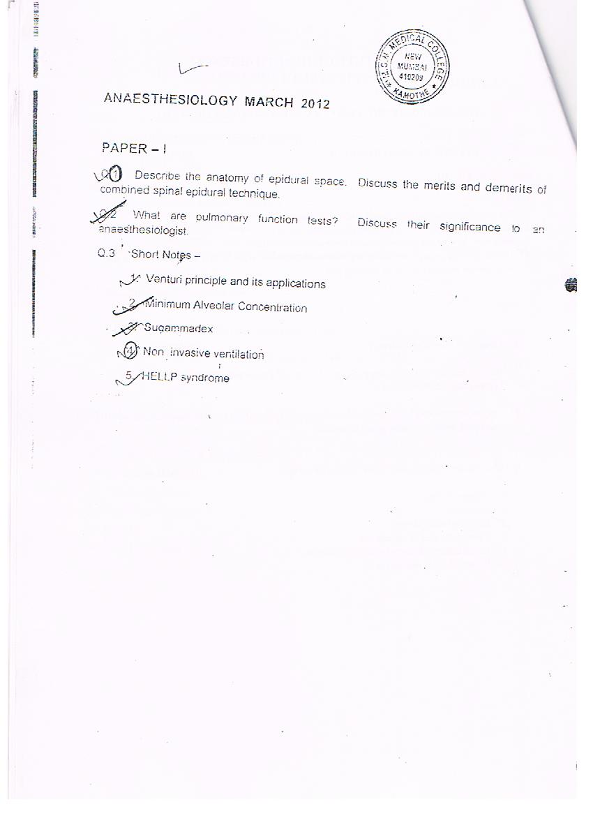 Md Da Papers List Cardiac Anaesthesia Dr Amarja Nagre